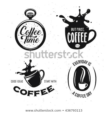 caneca · de · café · relógio · de · bolso · metal · bandeja · carro · café - foto stock © berczy04