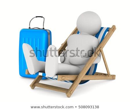 Hombre tumbona equipaje blanco aislado 3D Foto stock © ISerg