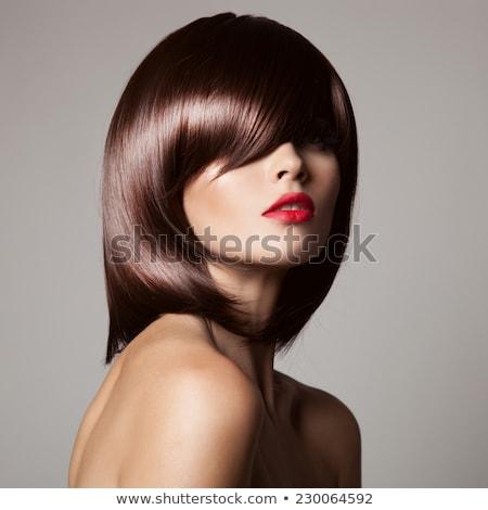 Long Healthy hair. beauty portrait woman. red lips makeup. elega Stock photo © Victoria_Andreas