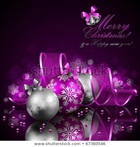 purple bright christmas background with stars decorations stock photo © dariazu