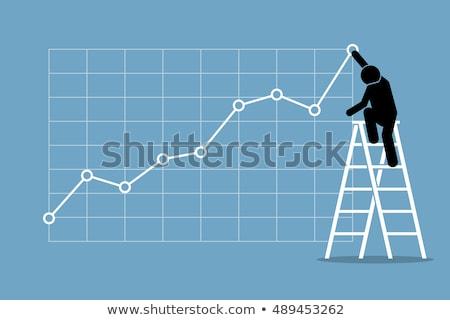 Işadamı tırmanma yüksek grafik afiş Stok fotoğraf © mangsaab