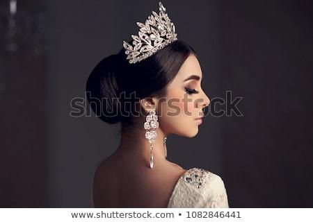 Portret cute pani diamentów kwiaty twarz Zdjęcia stock © konradbak