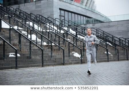 человека работает лестницы серый спортивная одежда Сток-фото © deandrobot