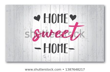 Blu legno muro casa dolce casa famiglia Foto d'archivio © Zerbor