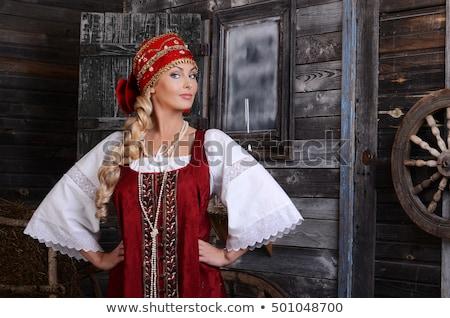 mooie · russisch · meisje · groene · jurk - stockfoto © AntonRomanov