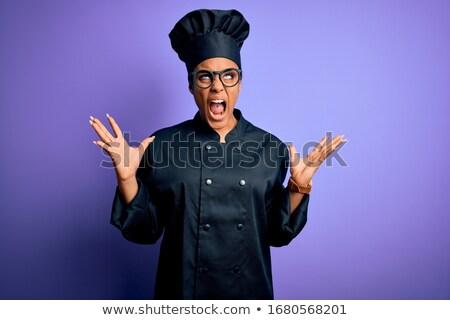 Jonge woedend chef kok schreeuwen afrikaanse Stockfoto © RAStudio