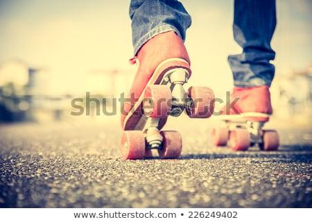 трюк Extreme улице спорт лет Skate Сток-фото © OleksandrO