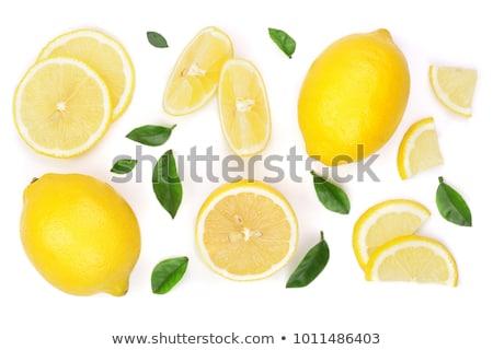 Geheel citroenen witte plaat houten Stockfoto © Digifoodstock