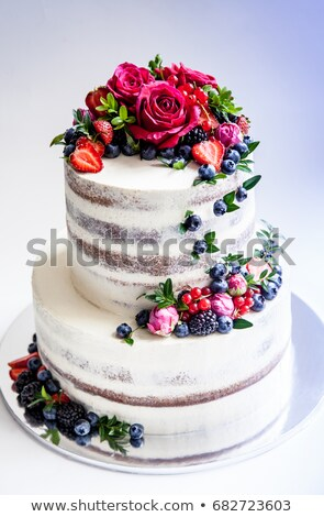 delicious fancy wedding cake and fruit stock photo © tekso