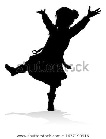 ストックフォト: 女の子 · 黒 · コート · 帽子 · ポーズ · 秋