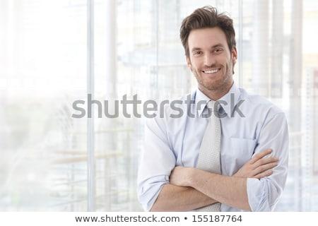 Jungen Kreuz Geschäftsmann lächelnd grau Lächeln Stock foto © feedough