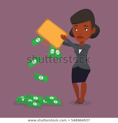 Uit geld aktetas zakenvrouw faillissement Stockfoto © RAStudio