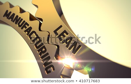 lean manufacturing on golden metallic cogwheels stock photo © tashatuvango