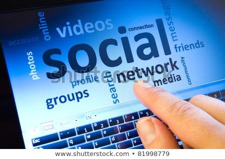 Azul social botón teclado clave Foto stock © tashatuvango