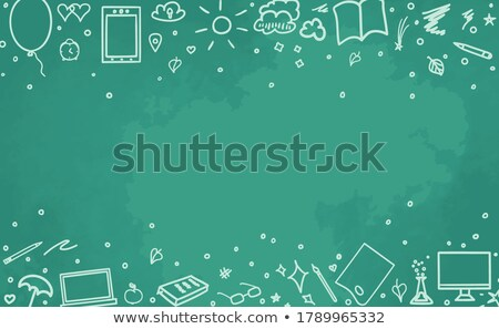 Distance apprentissage doodle illustration vert tableau Photo stock © tashatuvango
