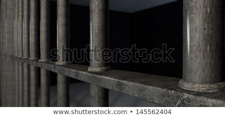 hapishane · hücrelerindeki · çubuklar · görmek · demir · kapı - stok fotoğraf © albund