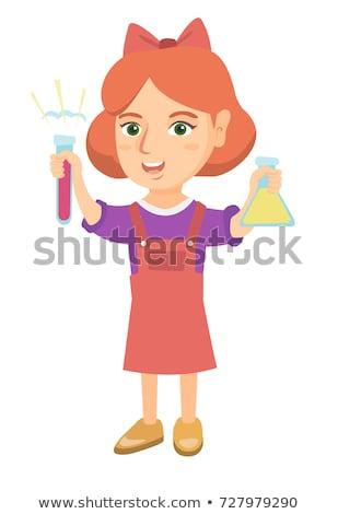 tudós · tart · főzőpohár · kémcső · illusztráció · orvos - stock fotó © rastudio