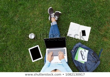Öğrenciler · eğitim · oturma · çim · park · mutlu - stok fotoğraf © is2