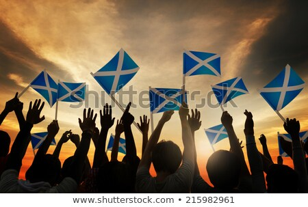 Man with flag of scotland in a crowd Stock photo © MikhailMishchenko
