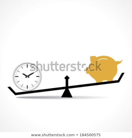 conceptual image of watch and coins on the justice scale stock photo © wavebreak_media