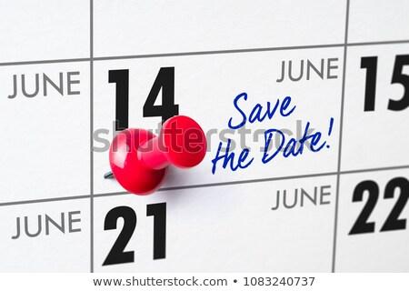 Parede calendário vermelho pin 14 aniversário Foto stock © Zerbor