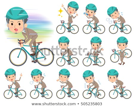 Beige suit short hair beard man on rode bicycle stock photo © toyotoyo