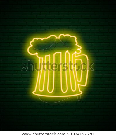 mug of beer neon sign and green brick wall realistic sign st p stock photo © popaukropa