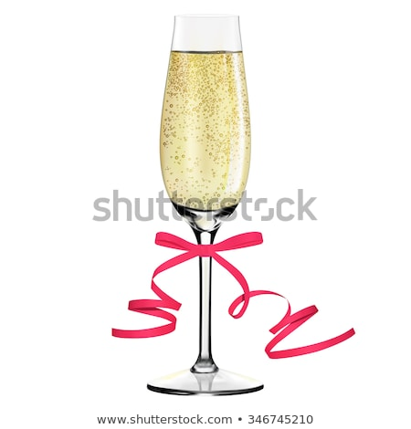 Rose pink champagne glass with bubbles on black Stock photo © DenisMArt