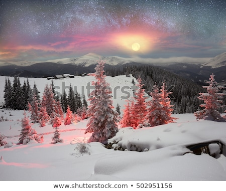 winter mountain scenery pictures with wooden huts stock photo © kotenko