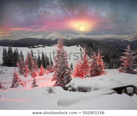 Tél hegy díszlet képek fából készült karácsony Stock fotó © Kotenko