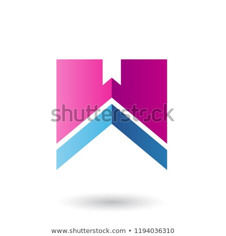 Magenta and Blue Letter W with a Thick Stripe Vector Illustratio Stock photo © cidepix