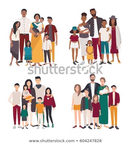 Aile portre vektör büyük mutlu aile geleneksel ebeveyn Stok fotoğraf © pikepicture