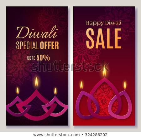 creative diwali sale banner made from diya design Stock photo © SArts