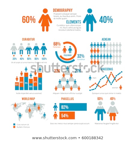 White vector demographic people and chart icons Stock photo © blumer1979