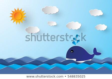 Cartoon walvis liefde illustratie Stockfoto © cthoman