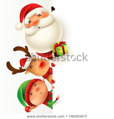 ren · geyiği · Noel · kırmızı · üzerinde · imzalamak - stok fotoğraf © krisdog