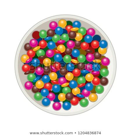 ベクトル ボウル 孤立した 白 虹色 ストックフォト © freesoulproduction