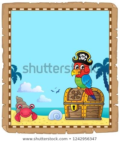 kalóz · papagáj · kincsesláda · téma · víz · tenger - stock fotó © clairev