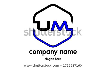 blue letter u hexagon logo logotype vector stock photo © blaskorizov