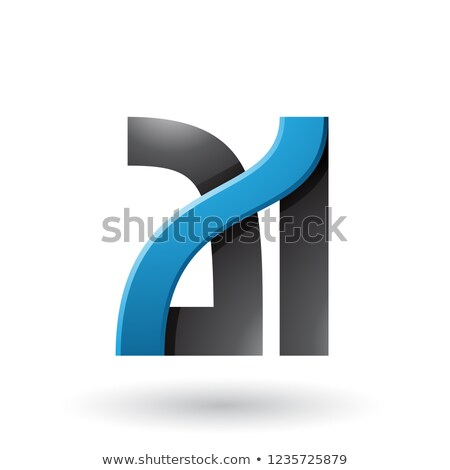 Blue and Black Bold Dual Letters A and I Vector Illustration Stock photo © cidepix
