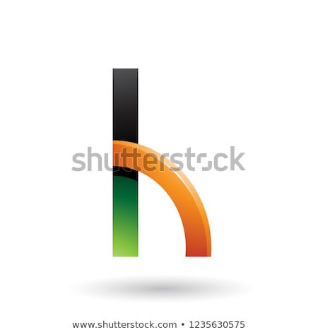 Green and Orange Letter H with a Glossy Quarter Circle Vector Il Stock photo © cidepix