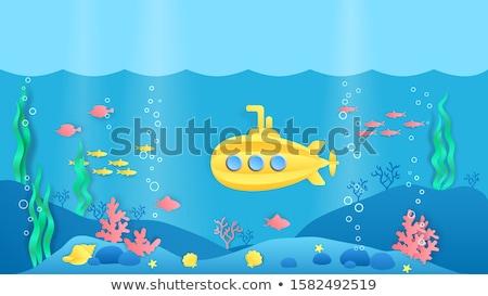 Citromsárga tengeralattjáró halfajok rajz stílus vektor Stock fotó © Andrei_
