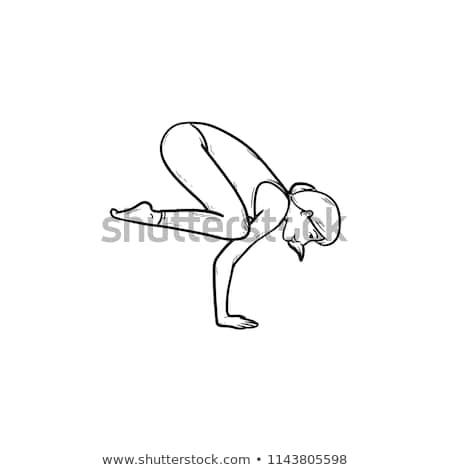 güzel · bir · kadın · yoga · uygulama · kız · güneş · dizayn - stok fotoğraf © rastudio