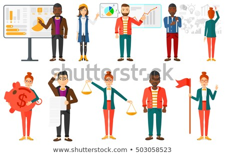 Stock photo: Businessman presenting growth chart vector illustration.