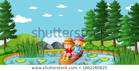 Menino menina remo barco lago ilustração Foto stock © colematt