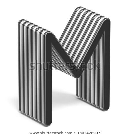 黒白 レイヤード フォント 手紙m 3D 3dのレンダリング ストックフォト © djmilic