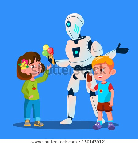 Robot Offering Ice-Cream To Kids Vector. Isolated Illustration Stock photo © pikepicture