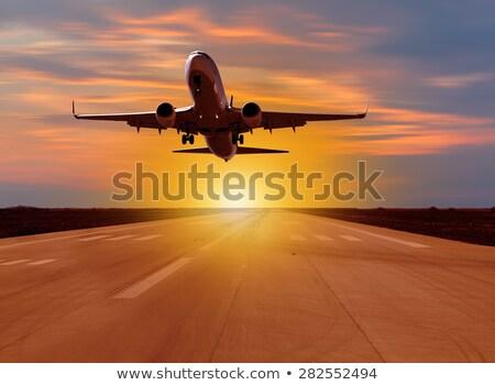 Vliegtuig landing landingsbaan luchthaven groot vliegtuig Stockfoto © ssuaphoto