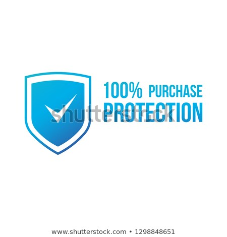 Blue 100 purchase protection, secure transaction shield with check mark. Vector illustration isolate Stock photo © kyryloff
