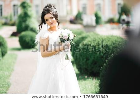 Hermosa niña púrpura vestido lila flores hermosa Foto stock © svetography